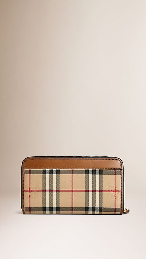 Tan Horseferry Check Ziparound Wallet Tan - Image 2