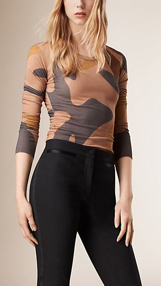 Camouflage Print Cashmere Silk Top