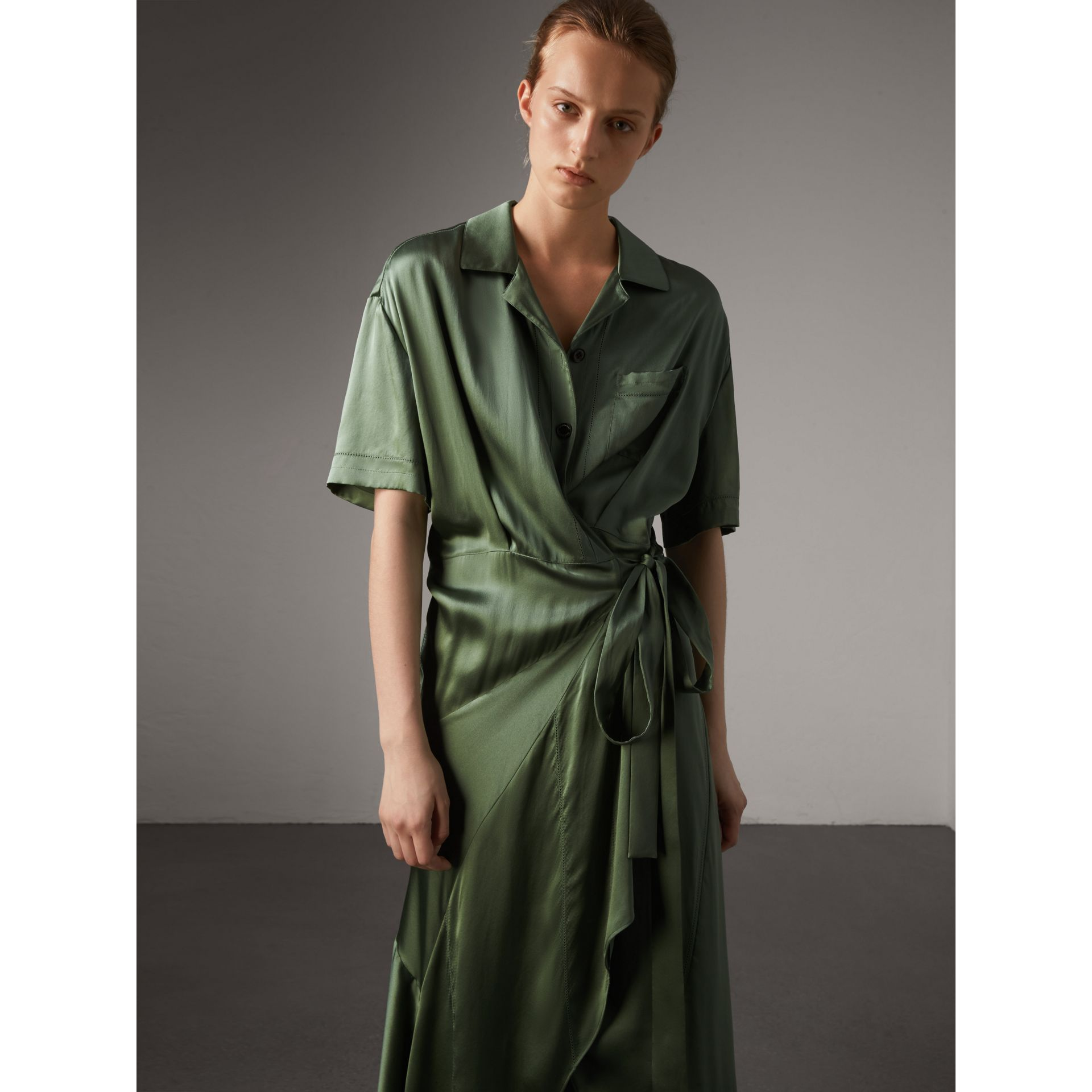Washed Silk Satin Tie-waist Shirt Dress in Forest Green - Women | Burberry - gallery image 5