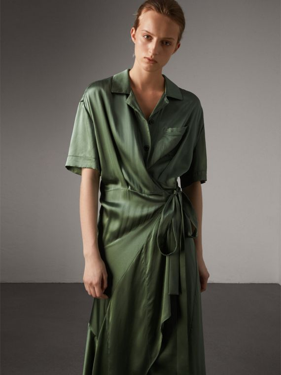 Washed Silk Satin Tie-waist Shirt Dress in Forest Green - Women | Burberry