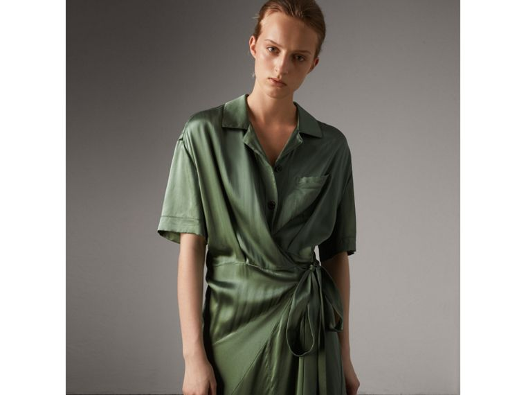 Washed Silk Satin Tie-waist Shirt Dress in Forest Green - Women | Burberry - cell image 4