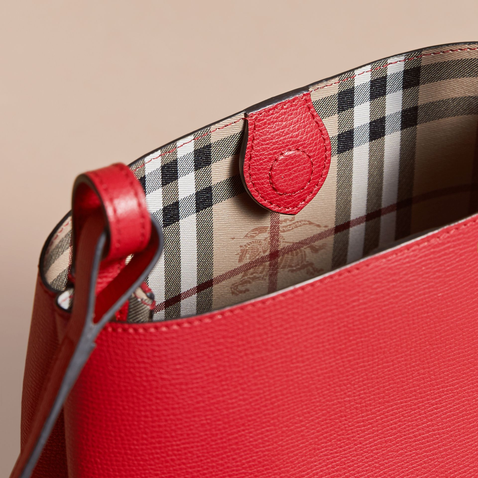 Leather and Haymarket Check Crossbody Bucket Bag in Poppy Red - Women | Burberry Australia - gallery image 5