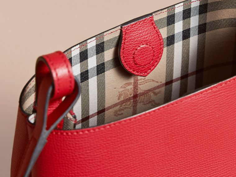 Leather and Haymarket Check Crossbody Bucket Bag in Poppy Red - Women | Burberry Australia - cell image 4