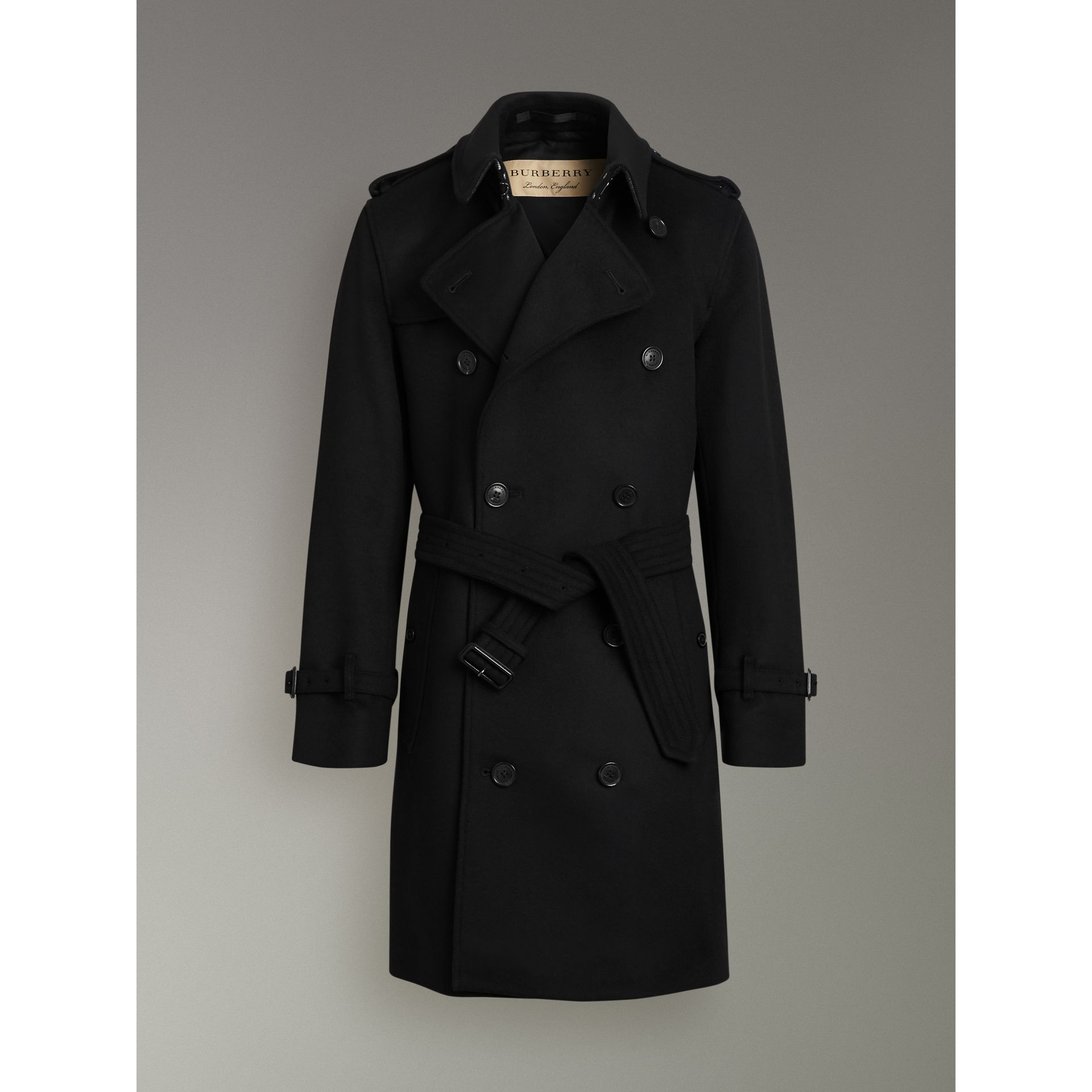 Wool Cashmere Trench Coat in Black - Men | Burberry United Kingdom - gallery image 3