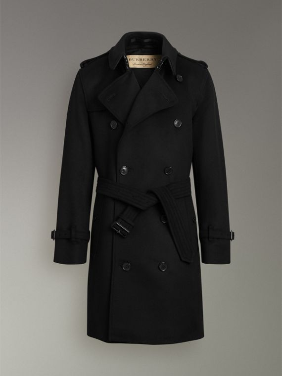 Wool Cashmere Trench Coat in Black - Men | Burberry United Kingdom - cell image 3