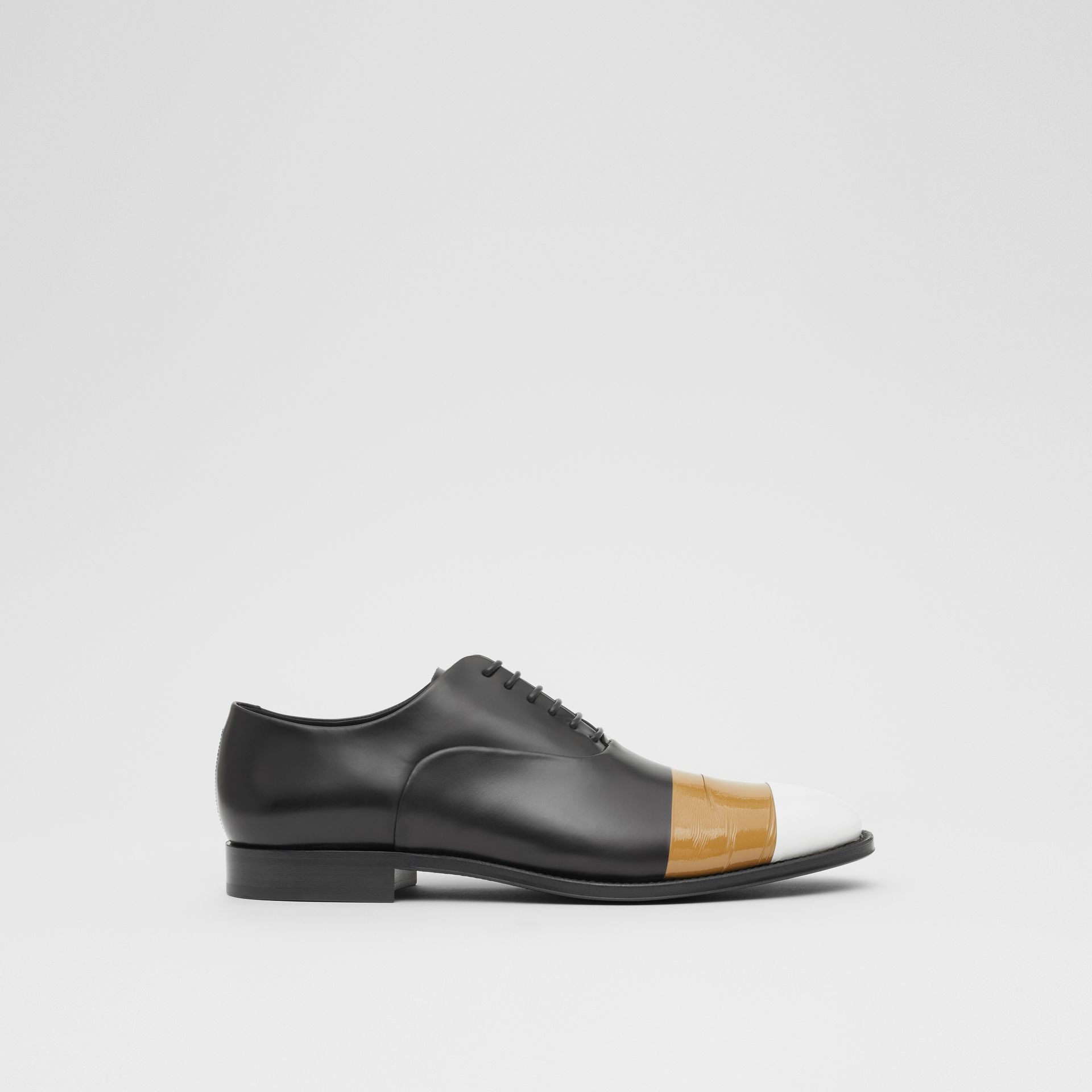 Tape Detail Leather Oxford Shoes in Black/optic White - Men | Burberry - gallery image 4