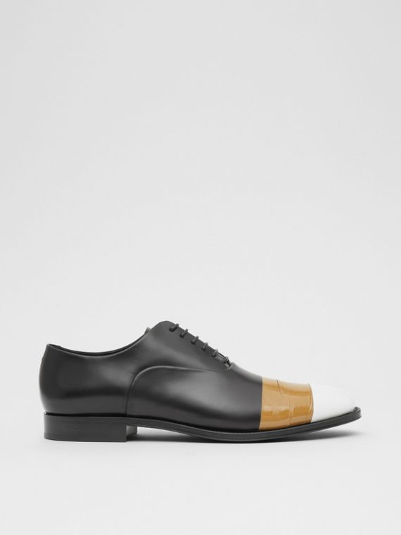 Tape Detail Leather Oxford Shoes in Black/optic White