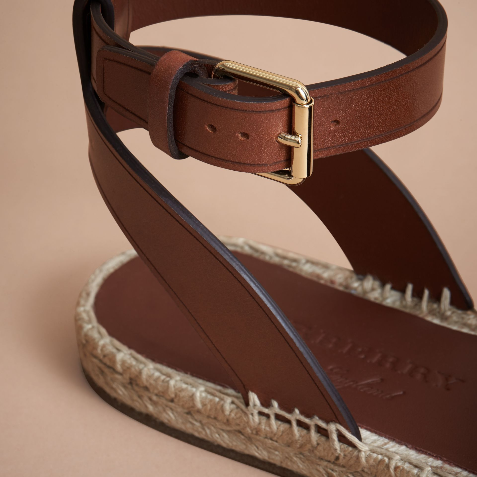 Leather and House Check Espadrille Sandals in Dark Tan - Women | Burberry Hong Kong - gallery image 2