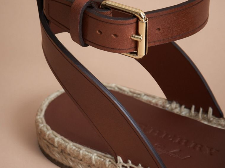 Leather and House Check Espadrille Sandals in Dark Tan - Women | Burberry Hong Kong - cell image 1
