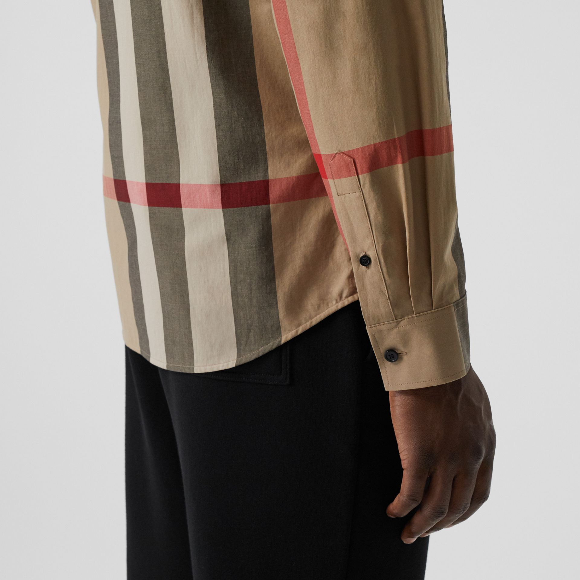 Check Stretch Cotton Poplin Shirt in Archive Beige - Men | Burberry Singapore - gallery image 1