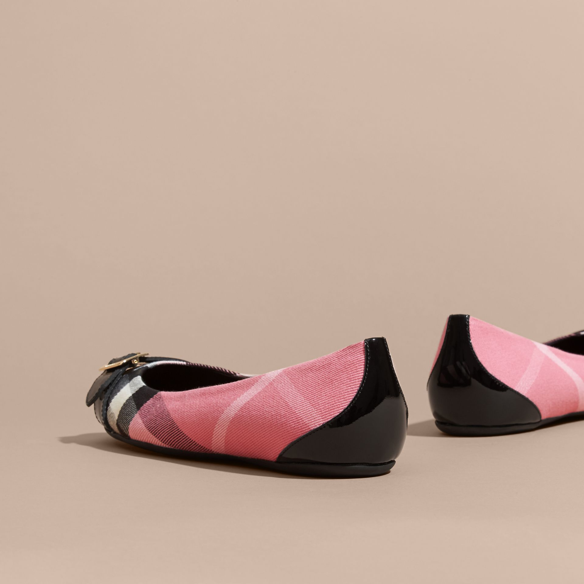 Buckle Detail House Check and Patent Leather Ballerinas Rose Pink - gallery image 4
