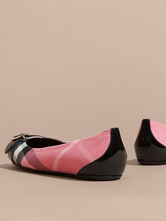 Buckle Detail House Check and Patent Leather Ballerinas Rose Pink - cell image 3