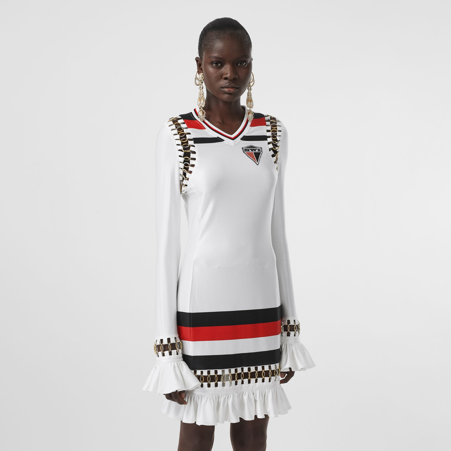 Ring-pierced Striped Stretch Jersey Mini Dress in Optic White - Women | Burberry - gallery image 0