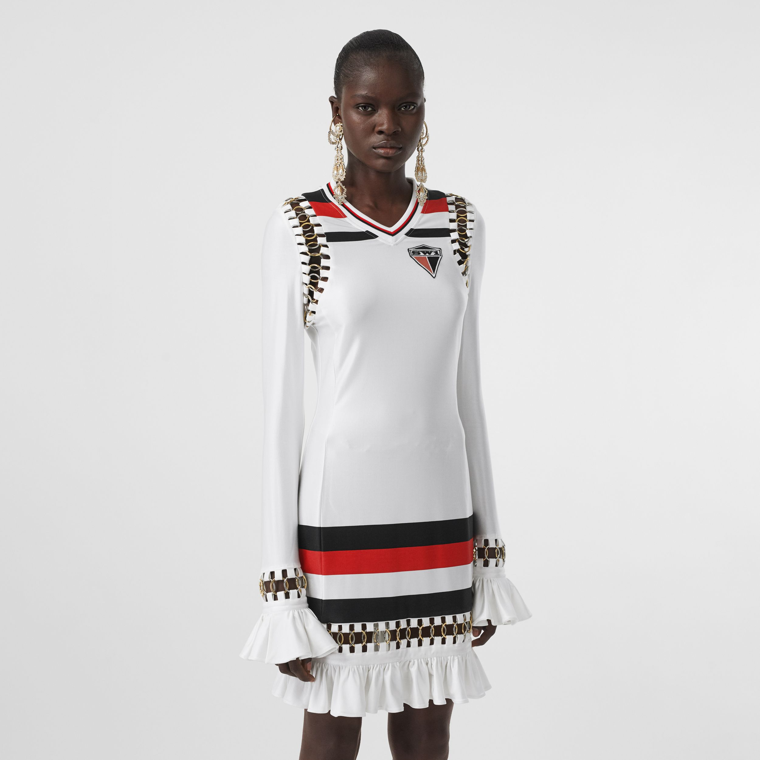 Ring-pierced Striped Stretch Jersey Mini Dress in Optic White - Women | Burberry - 1