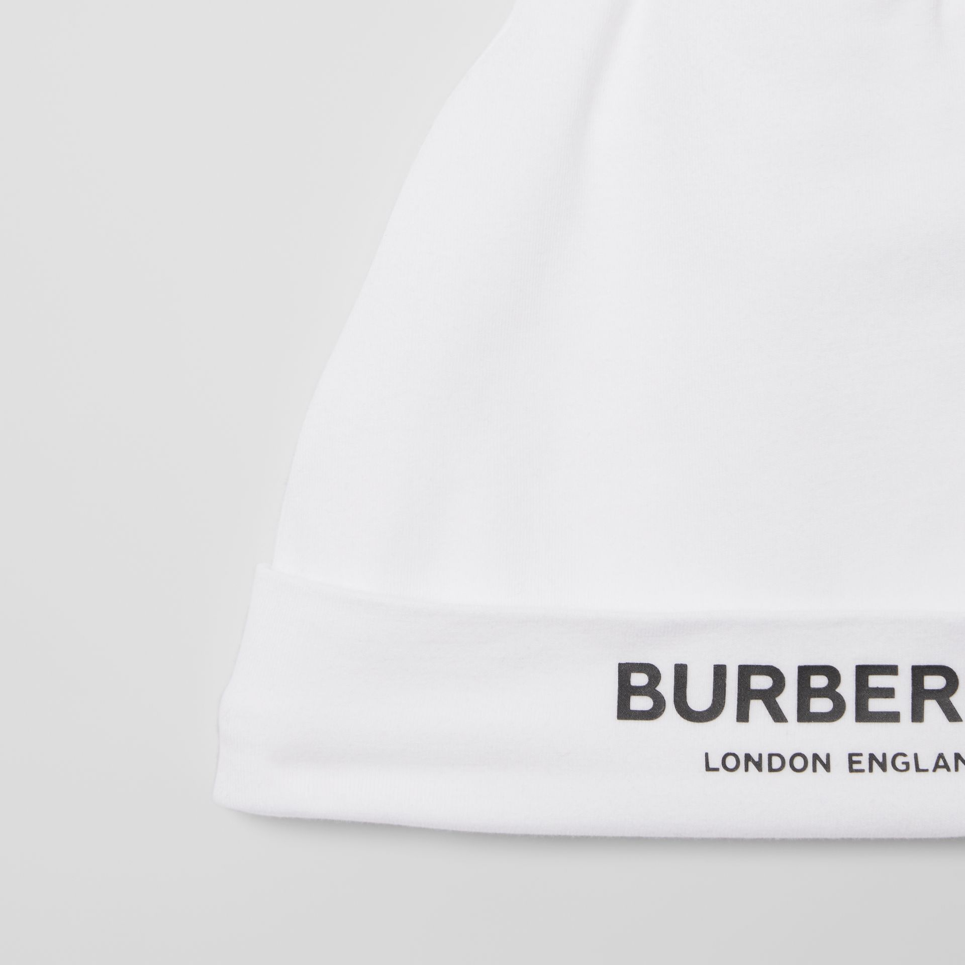 Logo Print Stretch Cotton Two-piece Baby Gift Set in White - Children | Burberry - gallery image 6