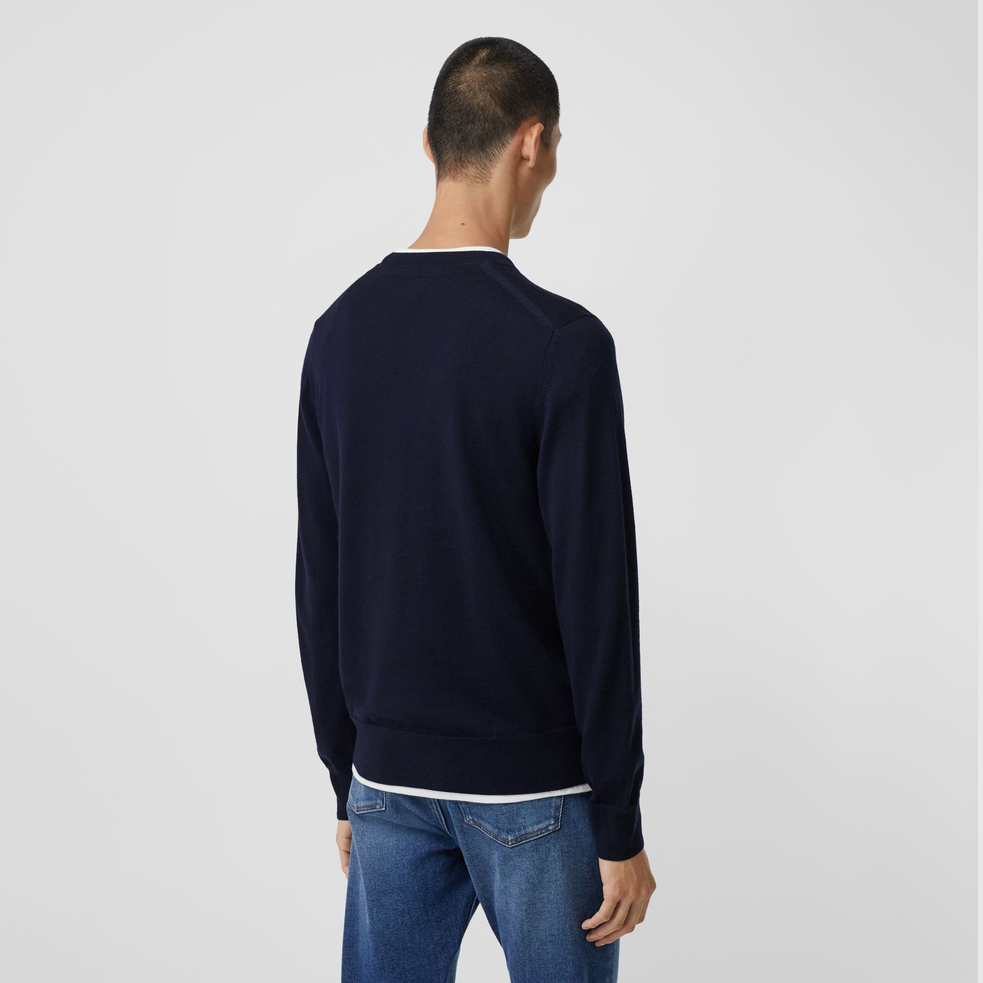 Monogram Motif Merino Wool Sweater in Navy - Men | Burberry - gallery image 2