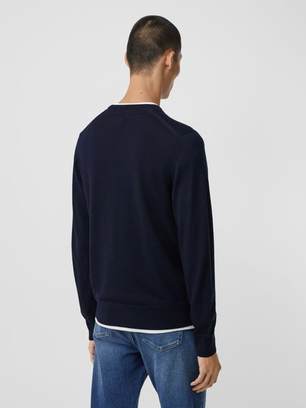 Monogram Motif Merino Wool Sweater in Navy - Men | Burberry - cell image 2