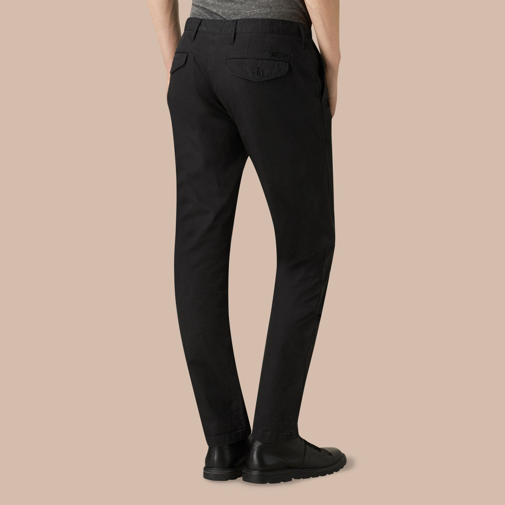 Slim Fit Cotton Chinos in Black - gallery image 4