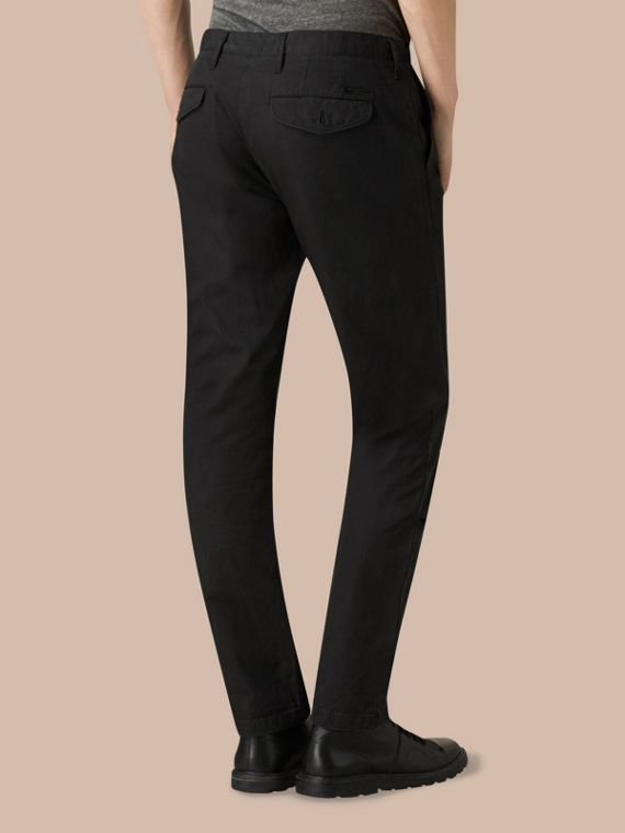 Slim Fit Cotton Chinos in Black - Men | Burberry - cell image 3