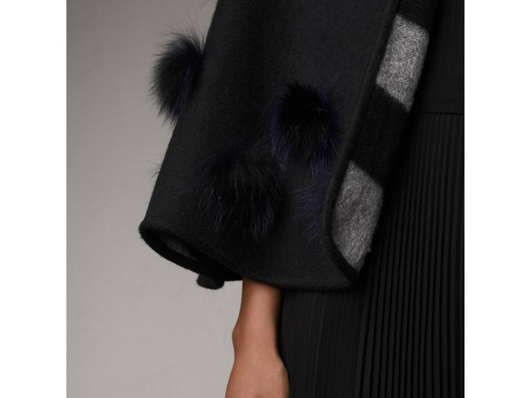 Fur Pom-pom Detail Double-faced Cashmere Wool Cape in Black - Women | Burberry United Kingdom - cell image 1