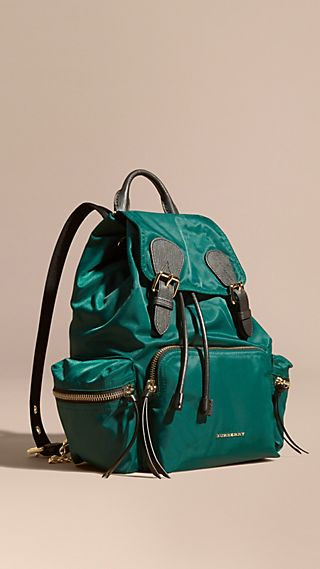 The Medium Rucksack in Technical Nylon and Leather Pine Green