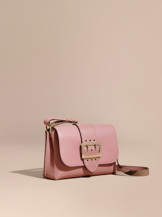 The Buckle Crossbody Bag in Leather in Dusty Pink