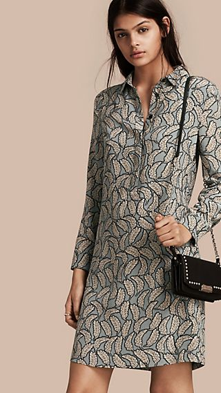 Leaf Print Silk Shirt Dress