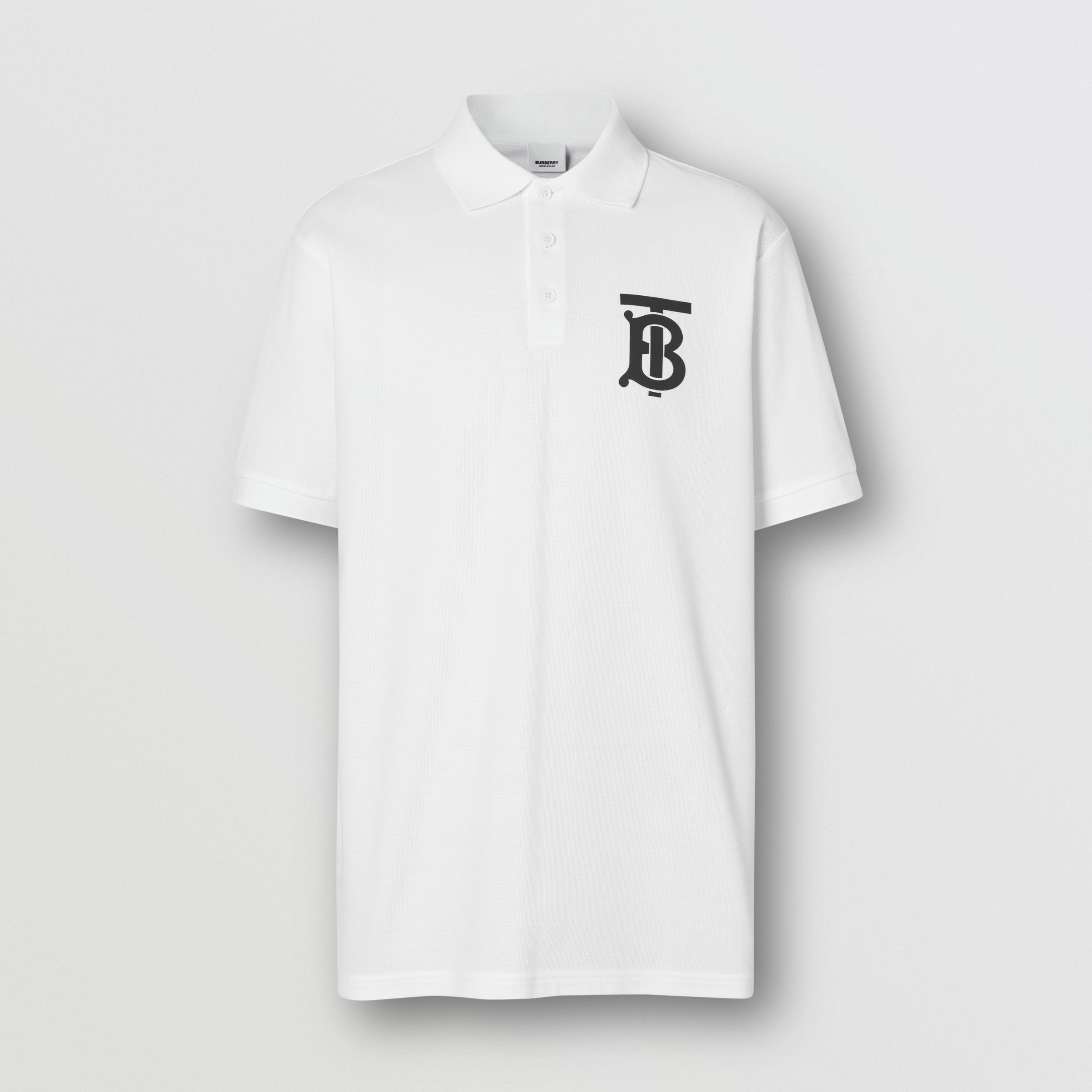 Monogram Motif Cotton Piqué Oversized Polo Shirt in White - Men | Burberry - 4
