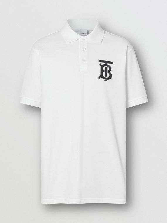 Monogram Motif Cotton Piqué Oversized Polo Shirt in White