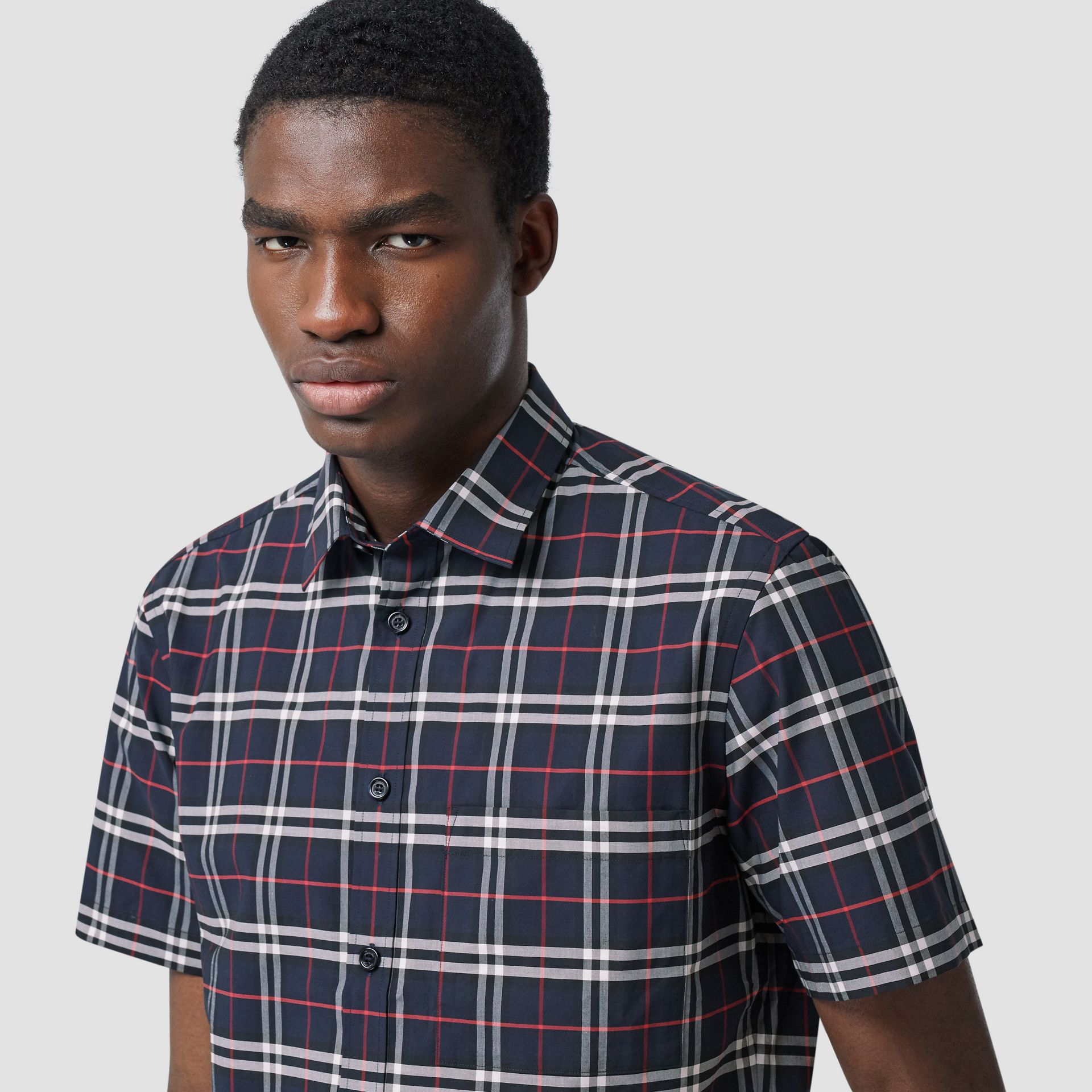 Short-sleeve Small Scale Check Stretch Cotton Shirt in Navy - Men | Burberry - gallery image 1