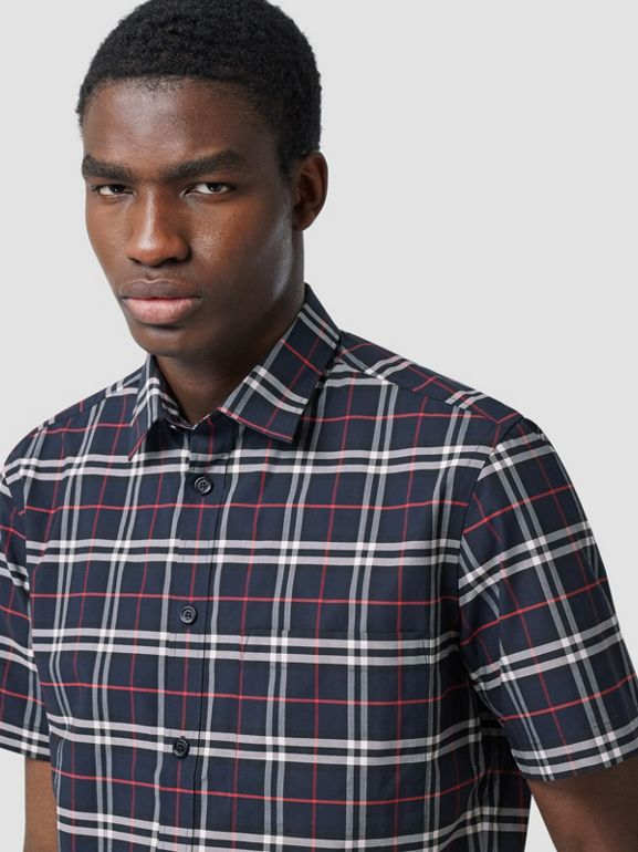 Short-sleeve Small Scale Check Stretch Cotton Shirt in Navy - Men | Burberry - cell image 1