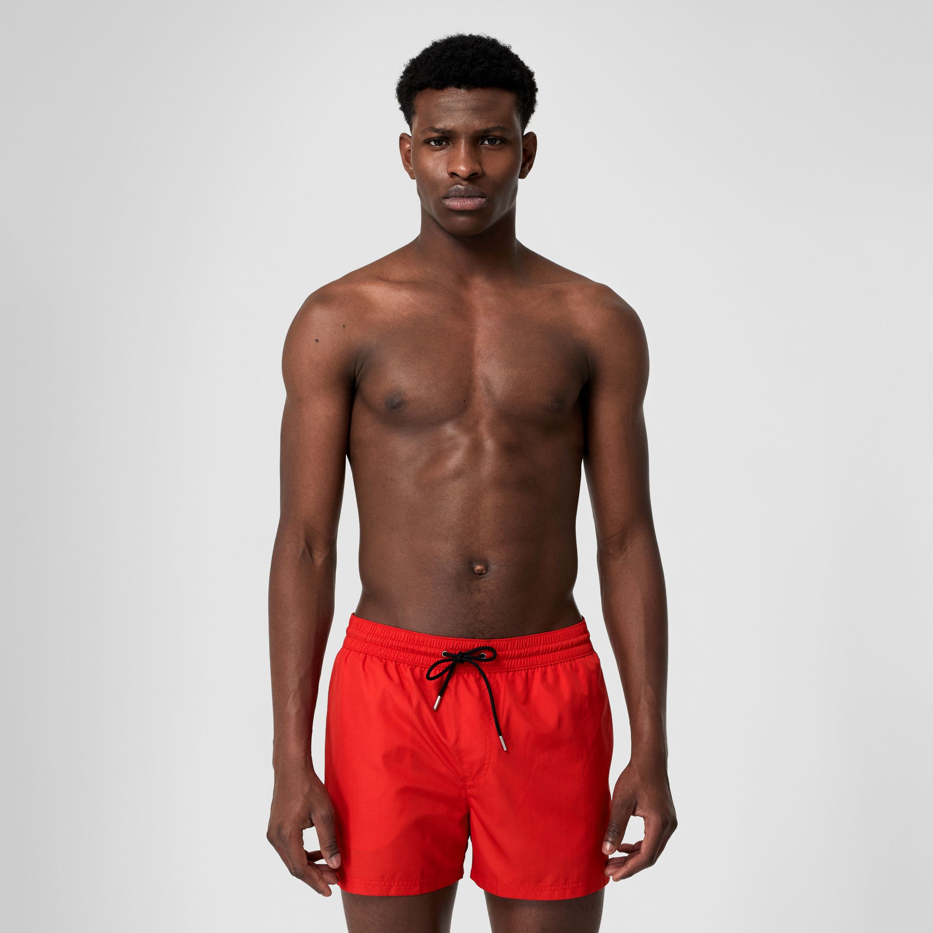 Icon Stripe Detail Drawcord Swim Shorts in Bright Red - Men | Burberry - gallery image 0