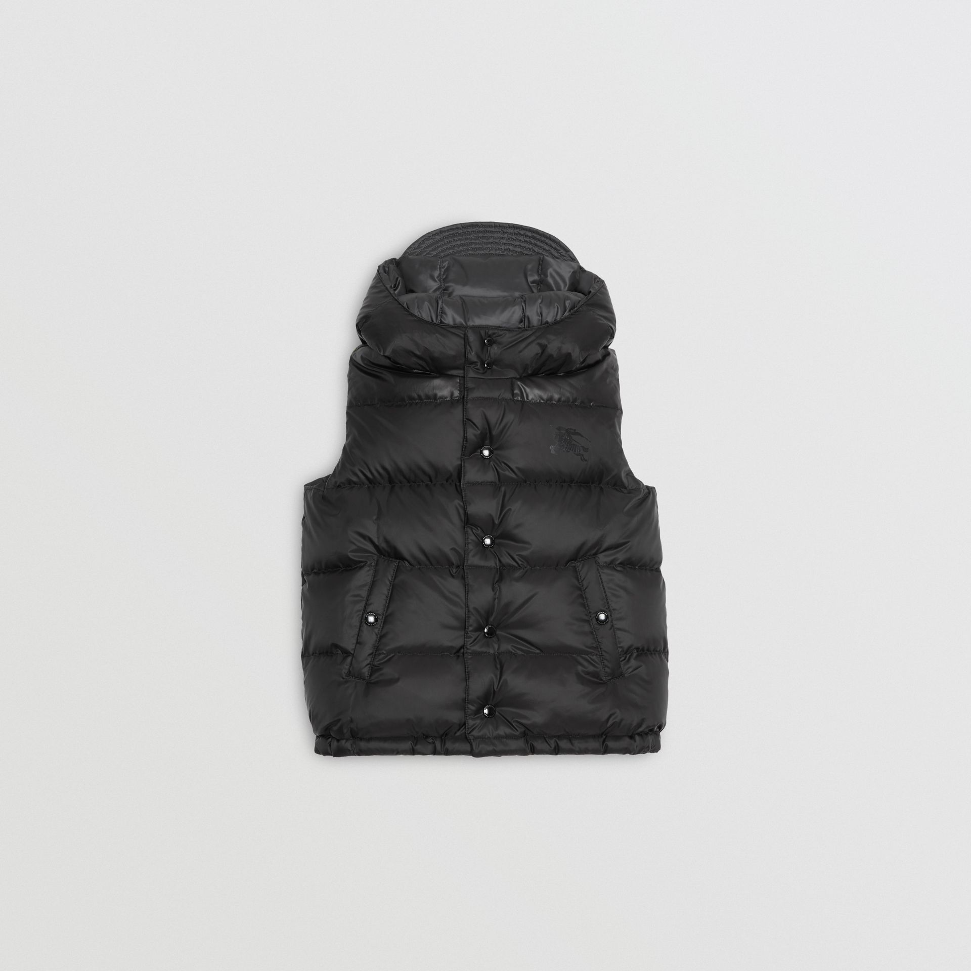 Reversible Showerproof Down-filled Hooded Gilet in Dark Grey | Burberry - gallery image 3