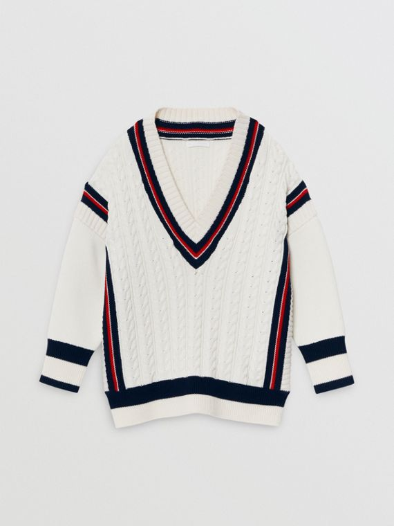 Stripe Detail Cotton and Merino Wool Sweater in White