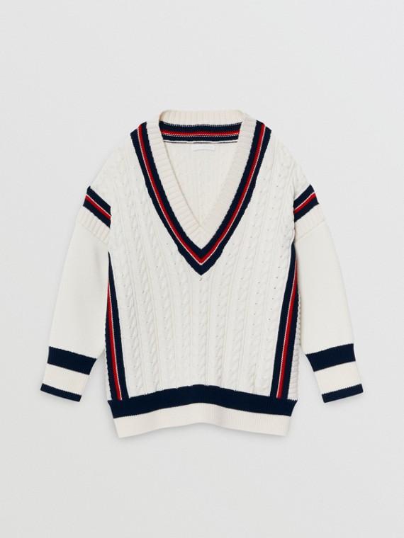 Pullover aus Baumwolle und Merinowolle mit Streifendetails (Weiss)