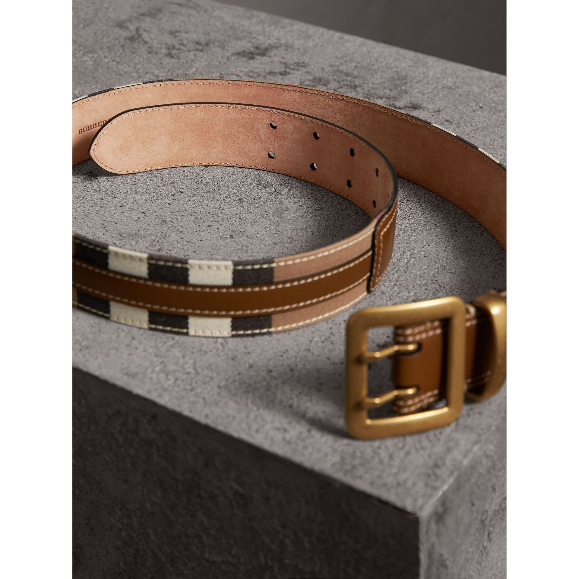 Topstitched House Check and Leather Belt in Sienna Brown - Women | Burberry Singapore - gallery image 3