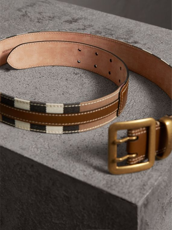 Topstitched House Check and Leather Belt in Sienna Brown - Women | Burberry - cell image 3