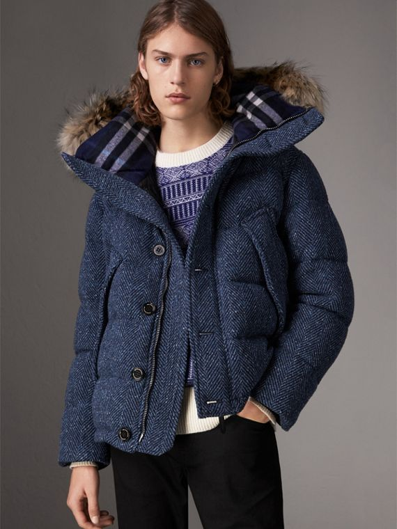 Short Detachable Fur Trim Down-filled Cashmere Parka in Dark Navy