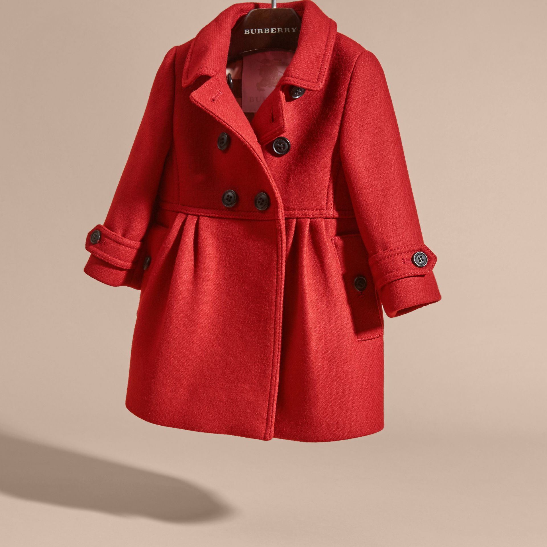 Tailored Wool Cashmere Blend Coat in Damson Red - gallery image 3