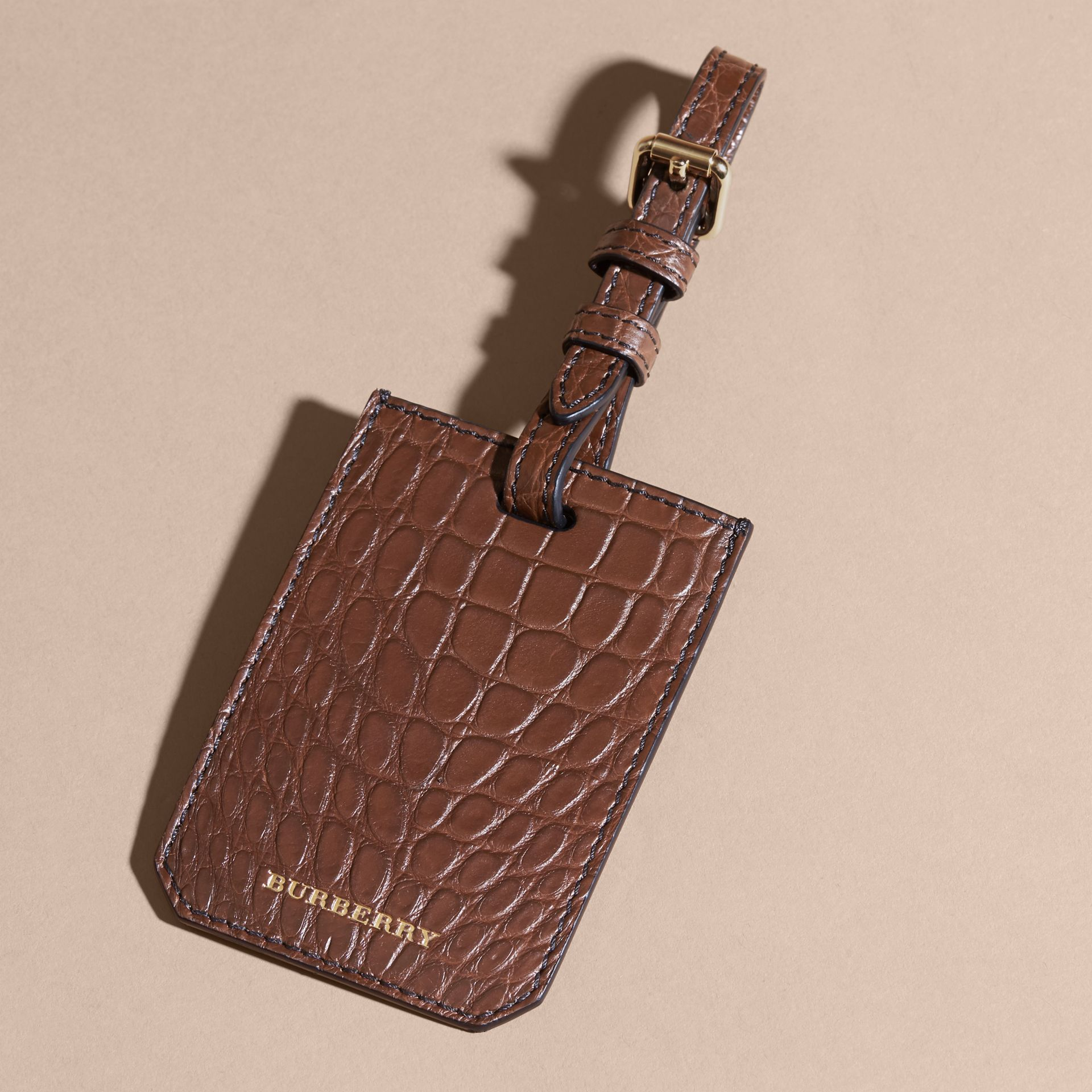 Alligator Luggage Tag in Flax Brown | Burberry - gallery image 3