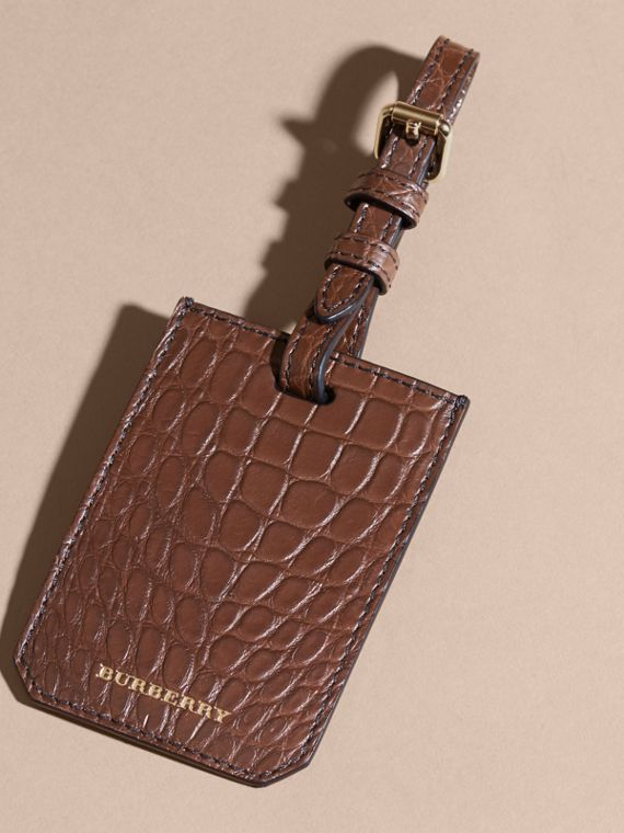 Porte-étiquette en alligator (Marron Lin) | Burberry - cell image 2