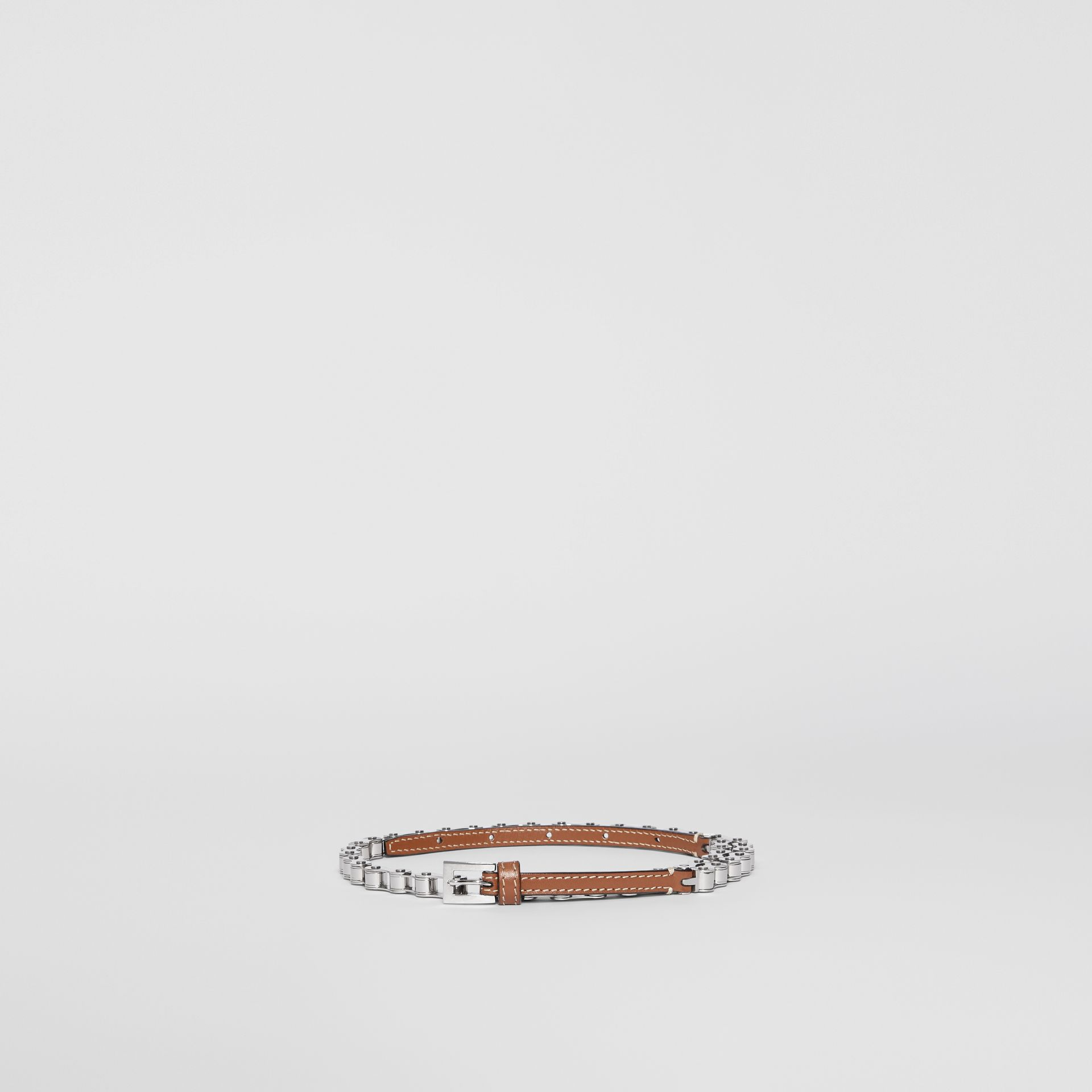 Leather and Bicycle Chain Belt in Malt Brown - Women | Burberry - gallery image 3