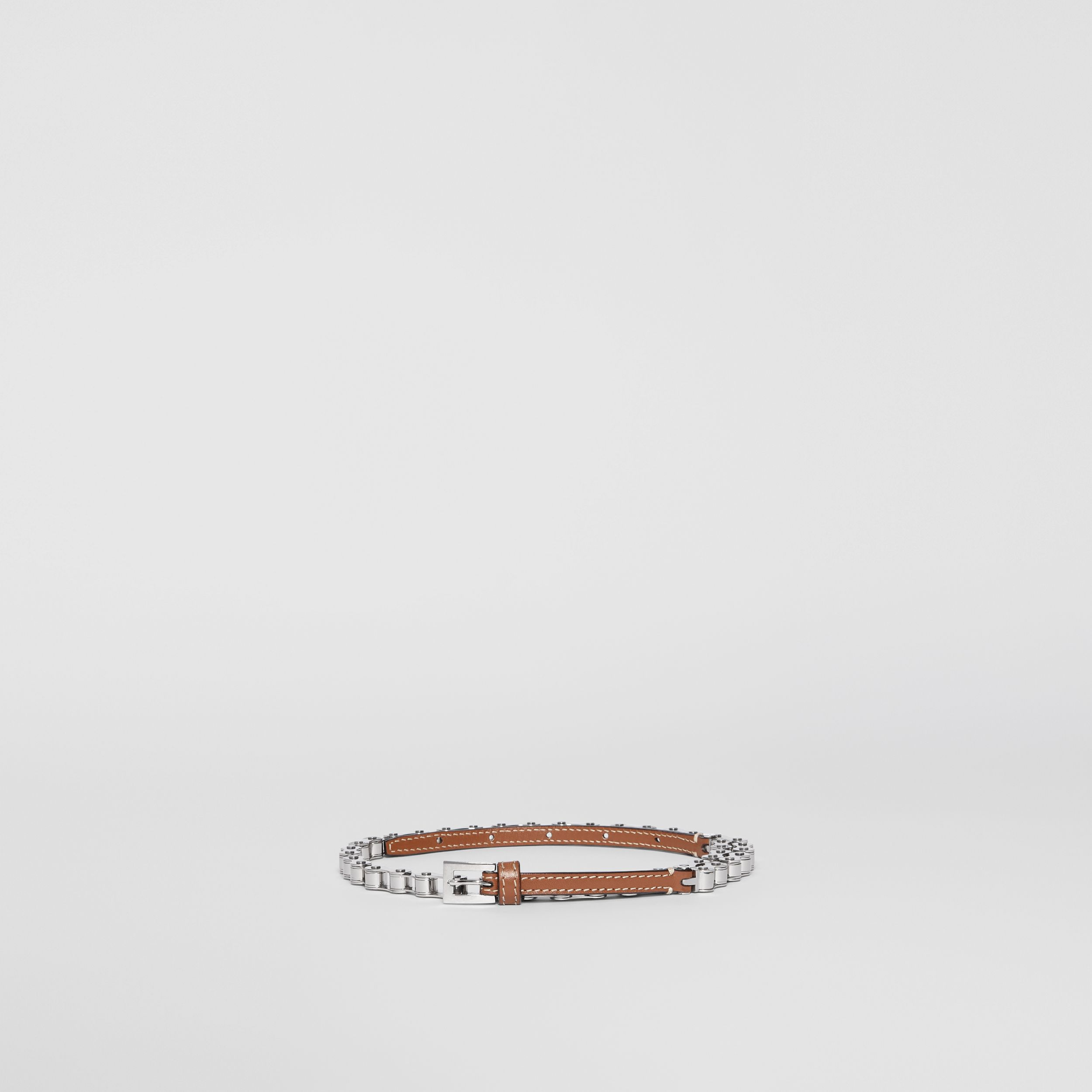 Leather and Bicycle Chain Belt in Malt Brown | Burberry - 4