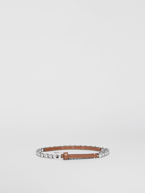 Leather and Bicycle Chain Belt in Malt Brown - Women | Burberry - cell image 3