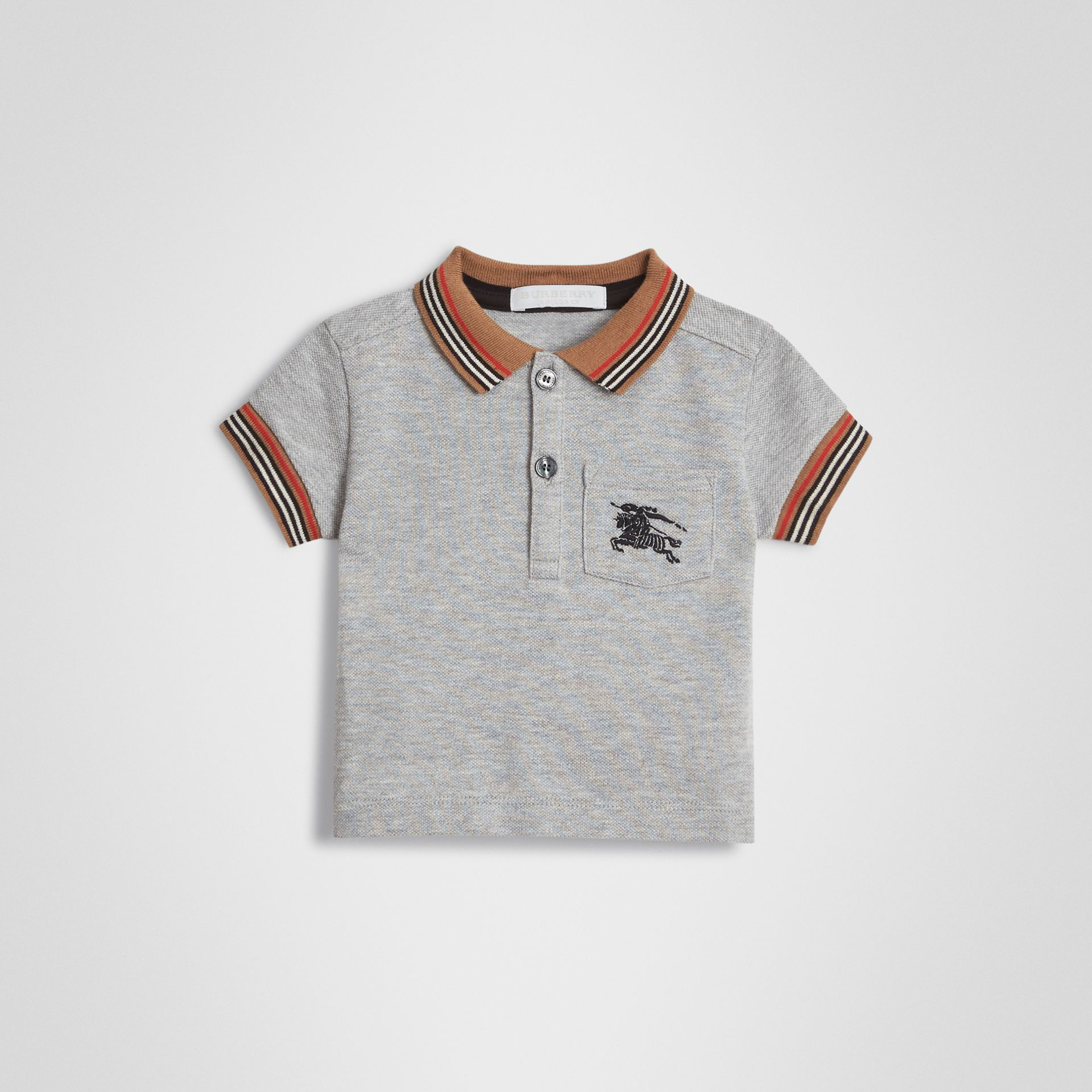 Icon Stripe Detail Cotton Polo Shirt in Grey Melange - Children | Burberry Canada - gallery image 0