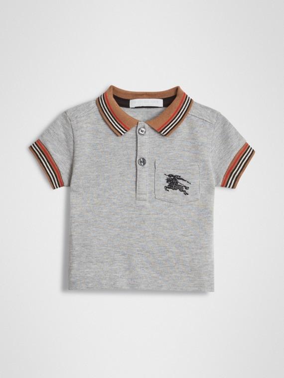 Poloshirt aus Baumwolle mit Streifendetail (Grau Meliert)