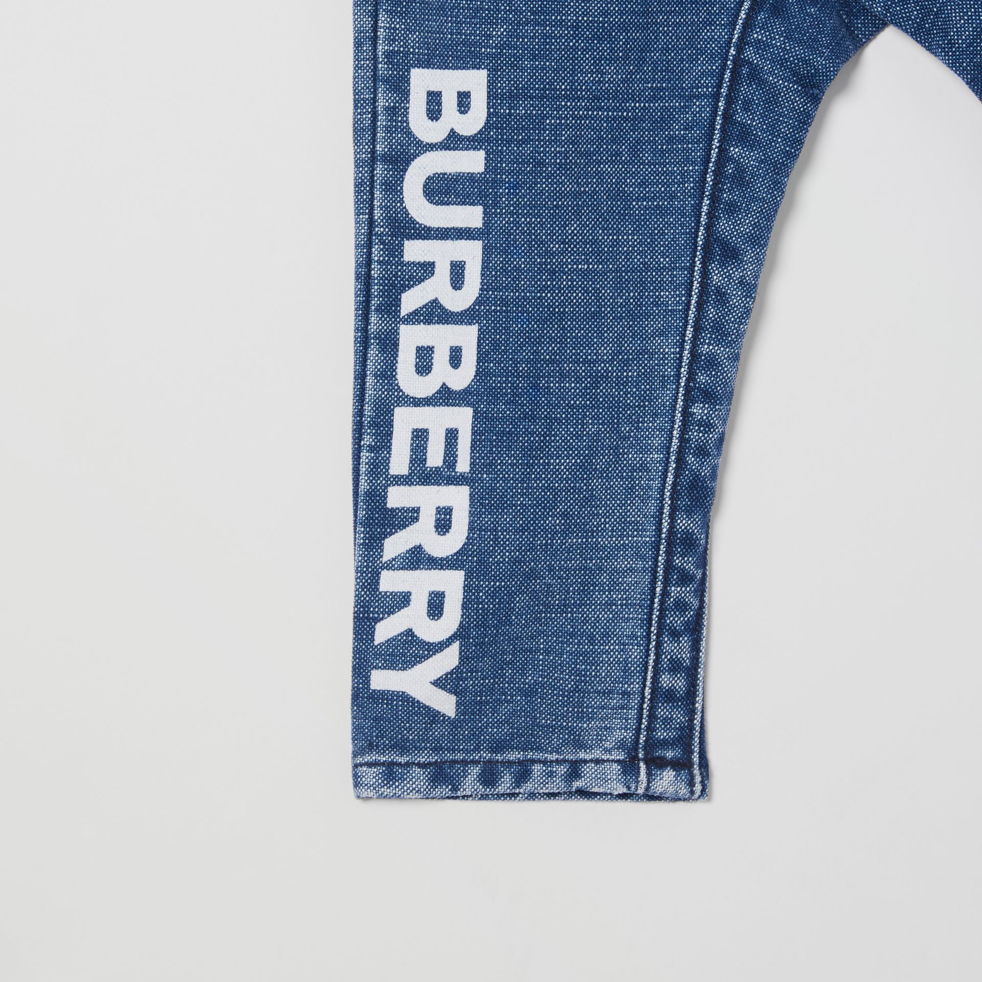 Logo Print Japanese Denim Jeans in Indigo - Children | Burberry - gallery image 4