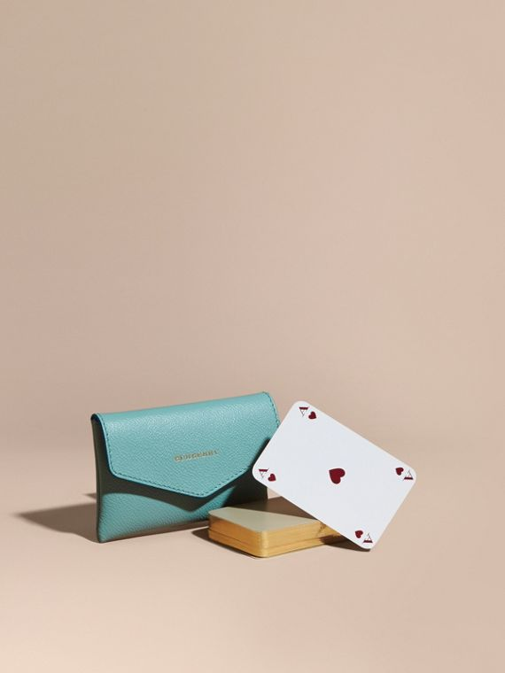Grainy Leather Playing Card Case in Pale Opal