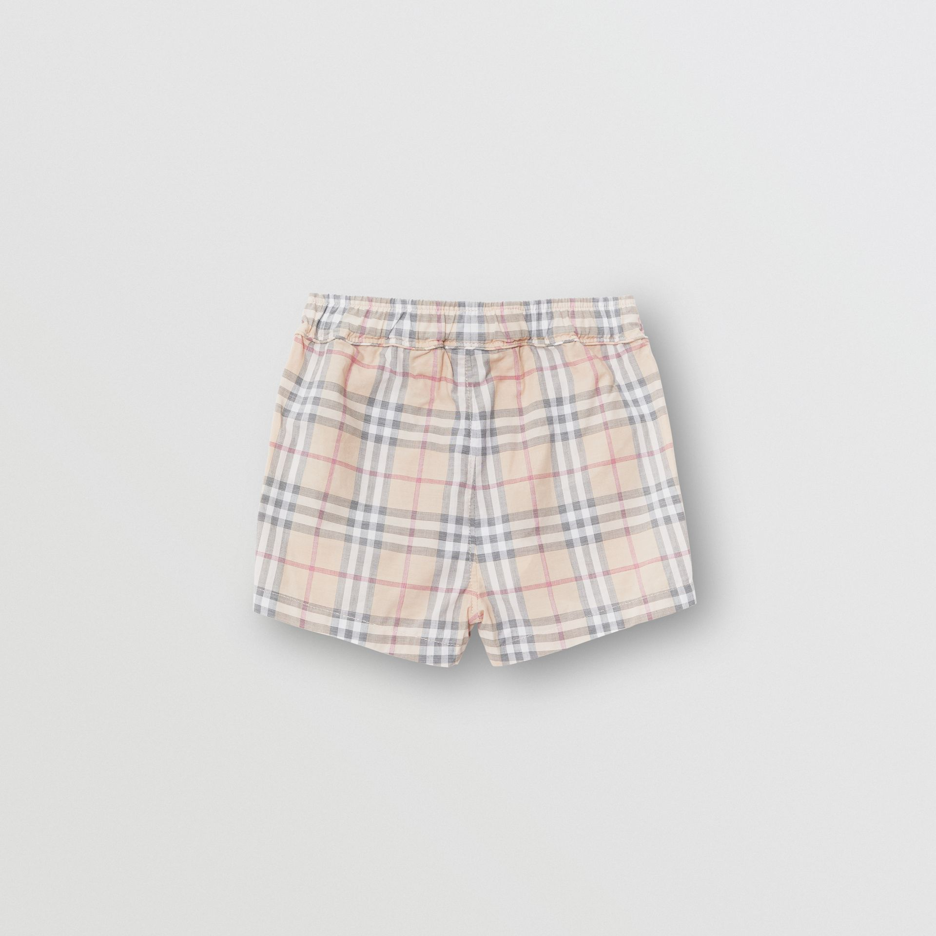 Check Cotton Shorts in Pale Stone - Children | Burberry Australia - gallery image 3