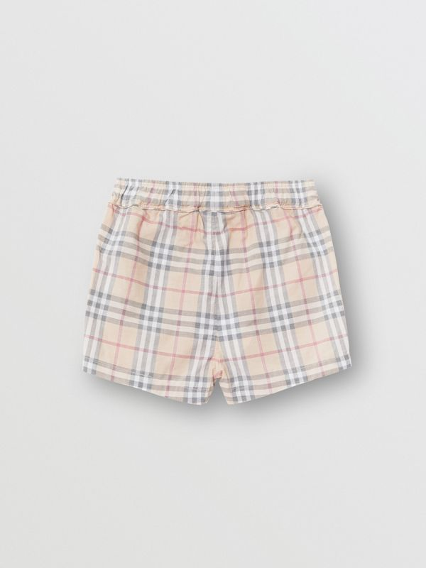 Check Cotton Shorts in Pale Stone - Children | Burberry Australia - cell image 3